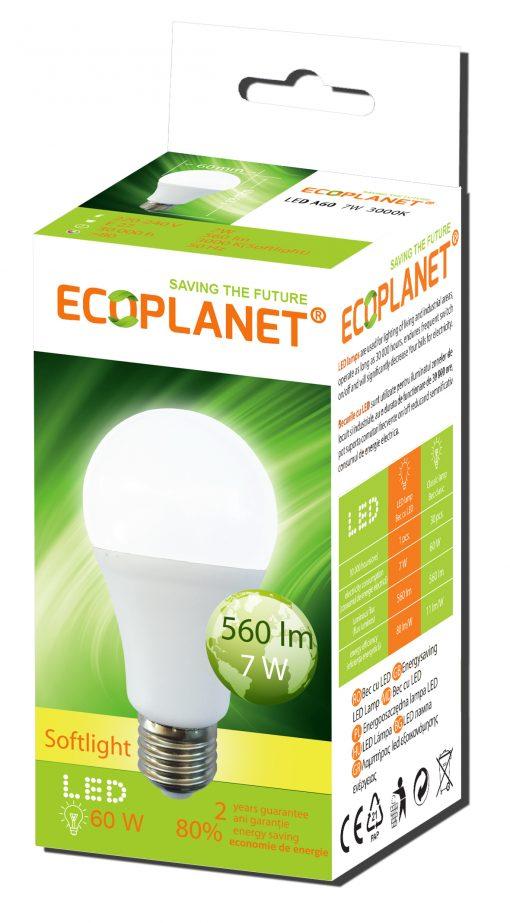 bec led 7w lumina calda ECOPLANET