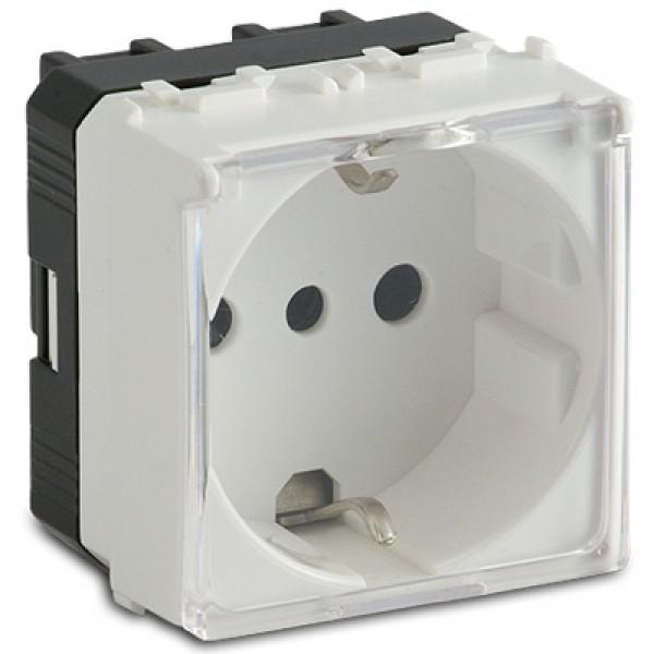 MS.MODO ALB(36174)-Priza Shuko cu capac transparent P30 2P+T 16A 250V cu protectie, IP 40, standard
