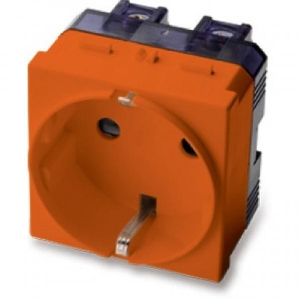 MS.MIX(21176A)-Priza Shuko 2P+T 16A 250V, standard german, 2 mod, Orange