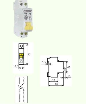 Intrerupator Automat BRL MCB-COMTEC 1M.4,5kA 25/1N/C 1 Modul