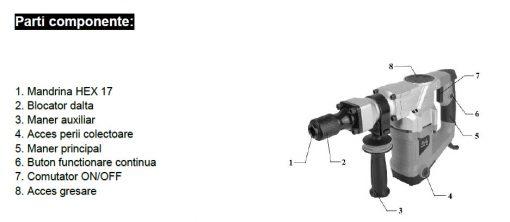 CIOCAN DEMOLATOR DH 1100w 15J, 3900ppm Mandrina 17mm EPTO