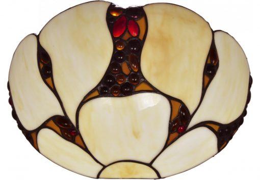 Inaltime - 20 cm Latime - 30 cm Distanta de la perete - 20 cm IP 20 1 bec cu dulie E27(becul nu este inclus) Corp: metal,maro antic Abajur: sticla,multicolor