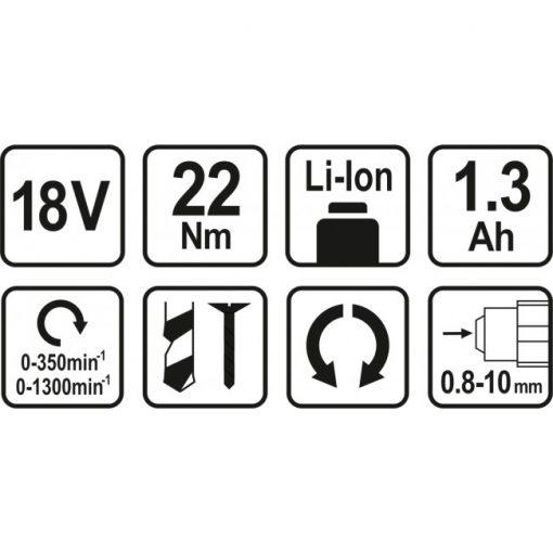 Bormasina 18V cu 2 acumulatori Sthor 78972, Li-Ion, 1.3 Ah, 22 Nm, valiza transport Caracteristici tehnice: Baterie Li-Ion 18 V Tensiune baterie 18 V Auto –reverse Capacitate baterie 1.3 Ah Cuplu maxim 22 Nm Valiza pentru transport Baterie de rezerva 2 trepte de viteza 0-350 rpm / 0-1300 rpm