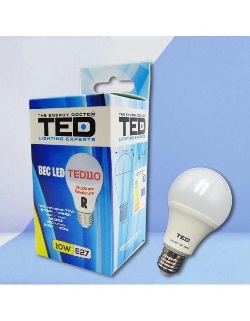 Bec LED E27 230V 10W 2700K A60 900lm TED110C