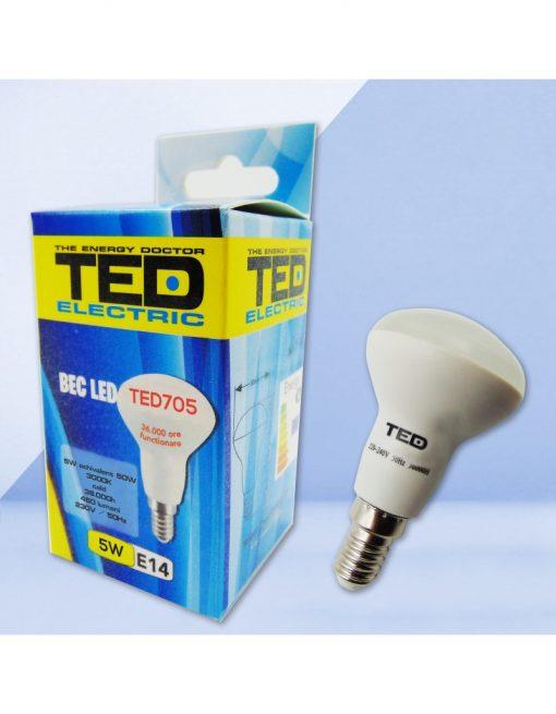 Bec LED reflector R50 5W 230V 3000K E14 460lm TED705C