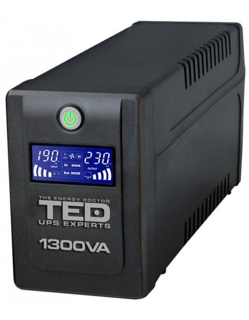 UPS TED Electric 1300VA / 750W Line Interactive cu 4 iesiri schuko si display LCD TED-1300